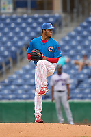 Clearwater Threshers pitcher Victor Lopez (55) during a game against the Fort Myers Mighty Mussels on July 29, 2021 at BayCare Ballpark in Clearwater, Florida.  (Mike Janes/Four Seam Images)