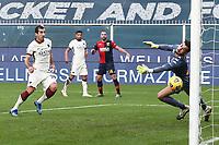 Henrikh Mkhitaryan of AS Roma scores the goal of 0-2 during the Serie A football match between Genoa CFC and AS Roma at Marassi Stadium in Genova (Italy), November 11th, 2020. Photo Gino Mancini / Insidefoto