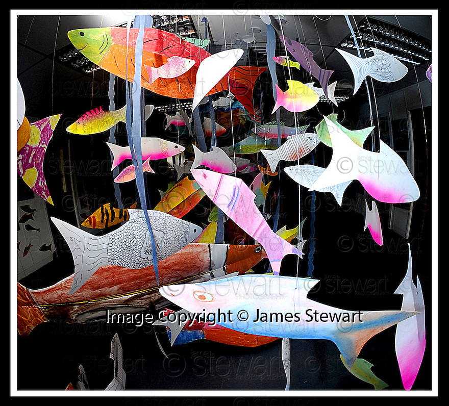 22/06/2009  Copyright  Pic : James Stewart.06_cross_currents.DELTA STUDIOS :: CROSS CURRENTS EXHIBITION :: SHOAL OF ART FISH.James Stewart Photography 19 Carronlea Drive, Falkirk. FK2 8DN      Vat Reg No. 607 6932 25.Telephone      : +44 (0)1324 570291 .Mobile              : +44 (0)7721 416997.E-mail  :  jim@jspa.co.uk.If you require further information then contact Jim Stewart on any of the numbers above.........