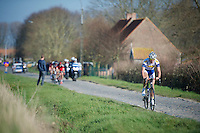 Jelle Wallays (BEL) escaping from the lead group in the Steenstraat (= 'Brick Street')<br /> <br /> 3 Days of West-Flanders<br /> stage 2: Nieuwpoort - Ichtegem 186km