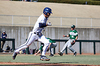 CARY, NC - FEBRUARY 23: Mac Hippenhammer #14 of Penn State University races to first after bunting the ball during a game between Wagner and Penn State at Coleman Field at USA Baseball National Training Complex on February 23, 2020 in Cary, North Carolina.