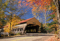 AJ1990, covered bridge, New Hampshire, White Mountains, fall, A covered bridge with a red roof is surrounded by colorful fall foliage on a beautiful autumn day in the White Mountain National Forest.