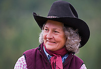 Smiling cowgirl portrai closeup