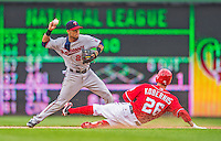 9 June 2013: Minnesota Twins infielder Pedro Florimon turns a double-play on a sliding Jeff Kobernus in the 8th inning against the Washington Nationals at Nationals Park in Washington, DC. The Nationals shut out the Twins 7-0 in the first game of their day/night double-header. Mandatory Credit: Ed Wolfstein Photo *** RAW (NEF) Image File Available ***