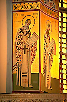 Reconstucted Byzantine style frescos of the 4th century AD 3 aisled Roamnesque basilica of Saint Demetrius, or Hagios Demetrios, Άγιος Δημήτριος, a Palaeochristian and Byzantine Monuments of Thessaloniki, Greece. A UNESCO World Heritage Site.