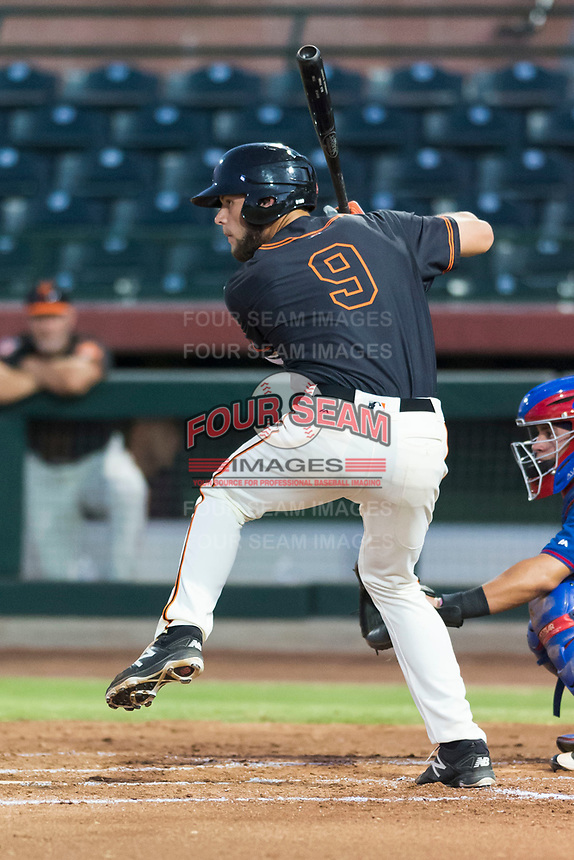 AZL Giants Black first baseman Zander Clarke (9) at bat during an Arizona League game against the AZL Rangers at Scottsdale Stadium on August 4, 2018 in Scottsdale, Arizona. The AZL Giants Black defeated the AZL Rangers by a score of 6-3 in the second game of a doubleheader. (Zachary Lucy/Four Seam Images)