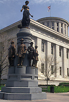 AJ4232, Columbus, State Capitol, State House, Ohio, Statue of Christopher Columbus on the grounds of the State Capitol Building in the capital city of Columbus in the state of Ohio.
