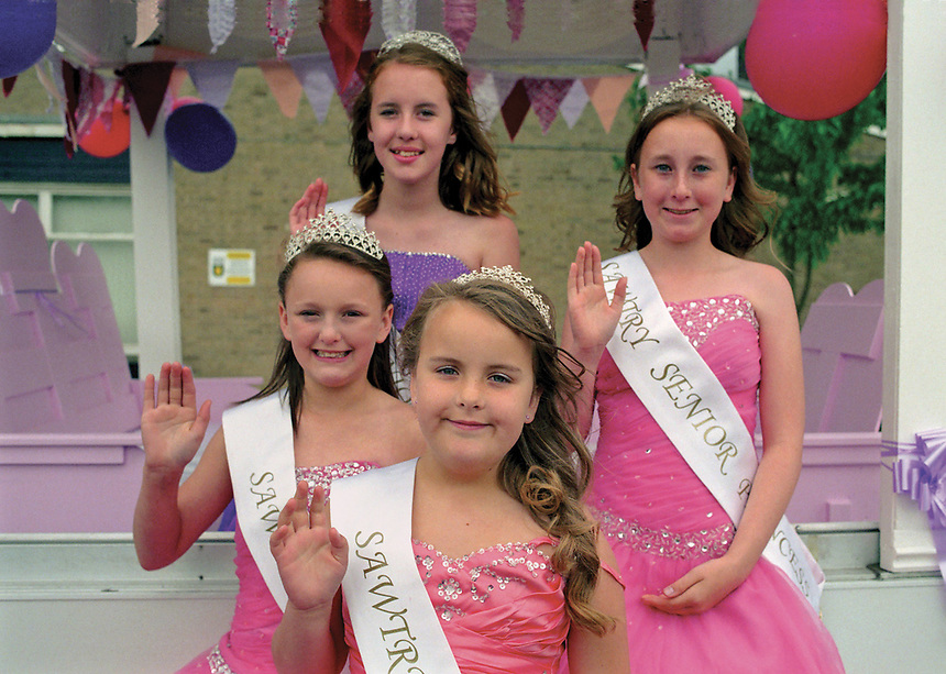 """Queen of Sawtry, Libby Allwood attended by Junior Queen Jessica Wickham, Princess Milly Rush, Junior Princess Mia Price.<br /> <br /> """"I'm scared to get close and I hate being alone. I long for that feeling to not feel at all. The higher I get, the lower I'll sink. I can't drown my demons, they know how to swim."""""""