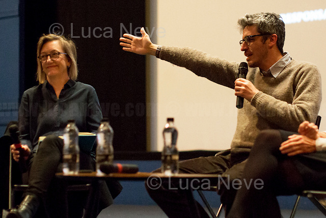"""(From L To R) Clare Longrigg & Pif. <br /> <br /> London, 25/03/2017. Today, CinemaItaliauk held the premiere of the Italian movie """"In Guerra Per Amore"""" (At War With Love) at the Genesis Cinema in London's Whitechapel (On London's 11 Best Independent Cinemas list). Special guest of the event was the Director and main actor of the movie Pif (Aka Pierfrancesco Diliberto, Italian television host and film director and actor and writer) who held a Q&A with Clare Longrigg, deputy Editor of the Guardian. After the success with """"The Mafia Kills Only in Summer"""" (2013), Pif is back with a love comedy based on true facts in which the Sicilian Director shows the agreement, made during World War II between the US Army and the Sicilian mafia, to invade and occupy Sicily without provoking any trouble, re-establishing the criminal power of """"Cosa Nostra"""" on the Italian southern island. <br /> <br /> For more information please click here: http://www.imdb.com/title/tt5263116/ & https://www.facebook.com/events/237675699972952/ & https://www.facebook.com/CinemaItaliaUk/"""