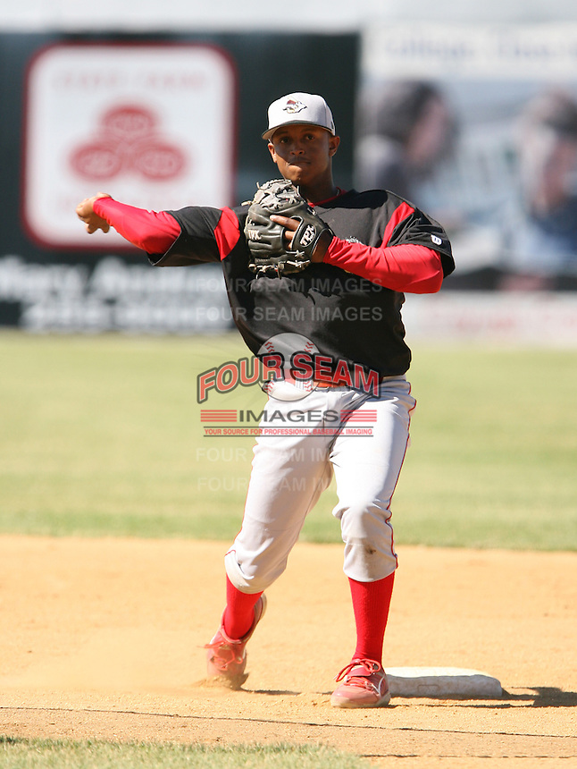 2007:  Phillip Cuevas of the Williamsport Crosscutters, Class-A affiliate of the Philadelphia Phillies, during the New York-Penn League baseball season.  Photo By Mike Janes/Four Seam Images