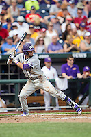 TCU Horned Frogs outfielder Dane Steinhagen (10) at bat against the LSU Tigers in the NCAA College World Series on June 14, 2015 at TD Ameritrade Park in Omaha, Nebraska. TCU defeated LSU 10-3. (Andrew Woolley/Four Seam Images)