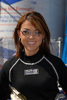 Apr 9, 2006; Las Vegas, NV, USA; NHRA Top Fuel dragster driver Hillary Will prior to elimination at the Summitracing.com Nationals at Las Vegas Motor Speedway in Las Vegas, NV. Mandatory Credit: Mark J. Rebilas