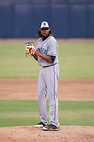 AZL Padres 2 relief pitcher Vijay Miller (14) prepares to deliver a pitch to the plate against the AZL Brewers on September 2, 2017 at Maryvale Baseball Park in Phoenix, Arizona. AZL Brewers defeated the AZL Padres 2 2-0. (Zachary Lucy/Four Seam Images)