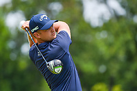 4th July 2021, Detroit, MI, USA;  Tom Lewis (ENG) watches his tee shot on 2 during the Rocket Mortgage Classic Rd4 at Detroit Golf Club on July 4,
