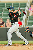 Connor Narron #38 of the Delmarva Shorebirds follows through on his swing against the Kannapolis Intimidators at CMC-Northeast Stadium on June 21, 2012 in Kannapolis, North Carolina.  The Intimidators defeated the Shorebirds 6-5 in 11 innings.  (Brian Westerholt/Four Seam Images)
