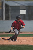 Arizona Diamondbacks catcher Daulton Varsho (23) starts down the first base line during a Minor League Spring Training intrasquad game at Salt River Fields at Talking Stick on March 12, 2018 in Scottsdale, Arizona. (Zachary Lucy/Four Seam Images)