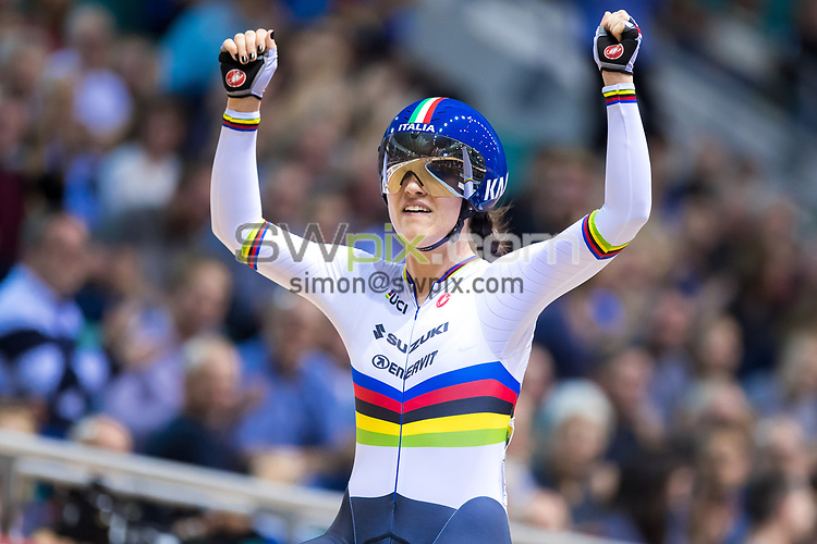 Picture by Alex Whitehead/SWpix.com - 10/11/2017 - Cycling - Tissot UCI Track Cycling World Cup - HSBC UK National Cycling Centre, Manchester, England - Italy's Rachele Barbieri wins Gold in the Women's Scratch final.