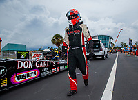 Sep 27, 2020; Gainesville, Florida, USA; NHRA top fuel driver Steve Torrence in his Don Garlits themed dragster during the Gatornationals at Gainesville Raceway. Mandatory Credit: Mark J. Rebilas-USA TODAY Sports