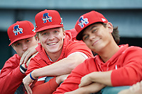 Auburn Doubledays Tyler Dyson (left), Jack Dunn (center), and Todd Peterson (right) during a NY-Penn League game against the Mahoning Valley Scrappers on August 27, 2019 at Falcon Park in Auburn, New York.  Auburn defeated Mahoning Valley 3-2 in ten innings.  (Mike Janes/Four Seam Images)