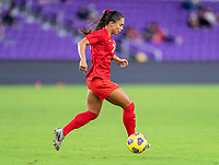 ORLANDO, FL - FEBRUARY 21: Jordyn Listro #21 of Canada dribbles during a game between Canada and Argentina at Exploria Stadium on February 21, 2021 in Orlando, Florida.