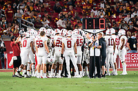 LOS ANGELES, CA - SEPTEMBER 11: Defense during a game between University of Southern California and Stanford Football at Los Angeles Memorial Coliseum on September 11, 2021 in Los Angeles, California.