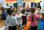 MR/Schenectady, New York.Yates Arts Magnet School - Pre-Kindergarten.Students move to music in classroom..MR: Spr, Fal1.PN#:29237      FC#:23048-00516.scan from slide.©Ellen B. Senisi