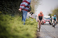 Jesper Asselman (NED/Roompot-Charles) riding the Holle Weg cobbles in the breakaway group<br /> <br /> 103rd Ronde van Vlaanderen 2019<br /> One day race from Antwerp to Oudenaarde (BEL/270km)<br /> <br /> ©kramon