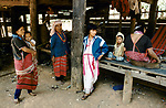 Karen hill tribe village of Banden, Northern Thailand South East Asia. Women and children passing  the time of day 1990s
