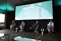 """BEVERLY HILLS, CA - MAY 26: (L-R) Moderator Drea Sobieski, Director Natalie Morales and co-lead actresses Kuhoo Verma and Victoria Moroles attend a special event for the Hulu original film """"Plan B"""" at L'Ermitage Beverly Hills on May 26, 2021 in Beverly Hills, California. (Photo by Frank Micelotta/HULU/PictureGroup)"""