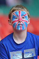 A fan gets ready for the start of the Olympics - Great Britain Women vs New Zealand Women - Womens Olympic Football Tournament London 2012 Group E at the Millenium Stadium, Cardiff, Wales - 25/07/12 - MANDATORY CREDIT: Gavin Ellis/SHEKICKS/TGSPHOTO - Self billing applies where appropriate - 0845 094 6026 - contact@tgsphoto.co.uk - NO UNPAID USE.