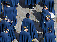 Vatican Gendarmes's band prepare to perform ahead of the Pope's Easter Urbi et Orbi message in St. Peter's Square at the Vatican, April 1, 2018.<br /> UPDATE IMAGES PRESS/Riccardo De Luca<br /> <br /> STRICTLY ONLY FOR EDITORIAL USE