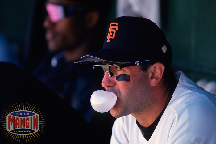 SAN FRANCISCO, CA:  Will Clark of the San Francisco Giants blows a bubble in the dugout during a game at Candlestick Park in San Francisco, California on September 11, 1993. (Photo by Brad Mangin)