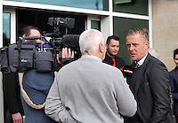 Pictured: Manager Garry Monk is interviewed as he arrives Wednesday 20 May 2015<br /> Re: Swansea City FC Awards Dinner at the Liberty Stadium, south Wales, UK