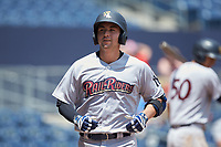 Kyle Higashioka (66) of the Scranton/Wilkes-Barre RailRiders returns to the dugout after hitting a home run against the Gwinnett Stripers at Coolray Field on August 18, 2019 in Lawrenceville, Georgia. The RailRiders defeated the Stripers 9-3. (Brian Westerholt/Four Seam Images)