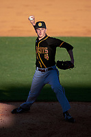 Bethune-Cookman Wildcats relief pitcher Tyler Norris (4) delivers a pitch during a game against the Wisconsin-Milwaukee Panthers on February 26, 2016 at Chain of Lakes Stadium in Winter Haven, Florida.  Wisconsin-Milwaukee defeated Bethune-Cookman 11-0.  (Mike Janes/Four Seam Images)
