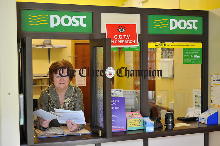 Moira Garry, who is retiring as Postmistress in Cooraclare after 41years in the Post Office. Photograph by John Kelly.