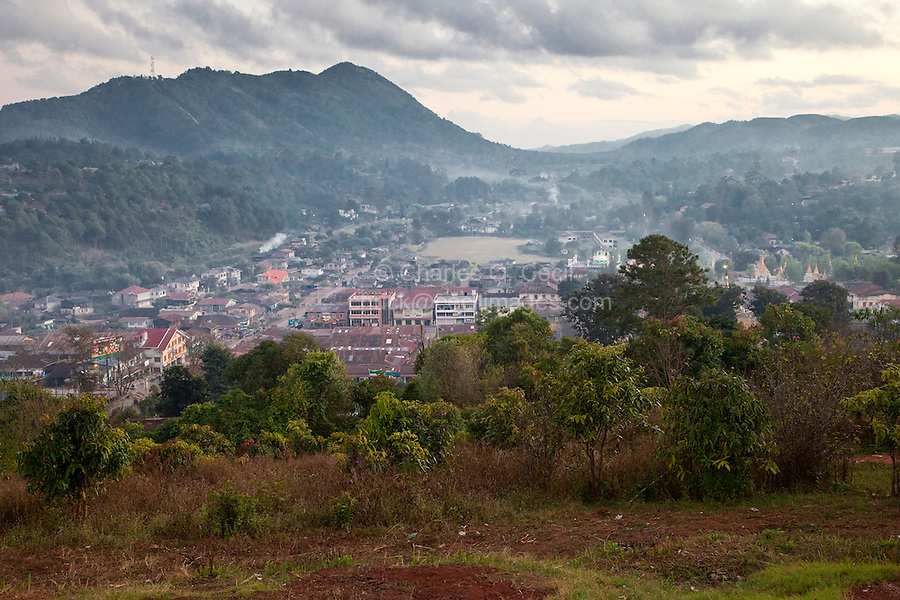 Myanmar, Burma, Kalaw, Shan State.  Early Morning Haze from Cooking Fires Fills the View.