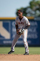 San Jose Giants second baseman Jalen Miller (2) during a California League game against the Modesto Nuts at John Thurman Field on May 9, 2018 in Modesto, California. San Jose defeated Modesto 9-5. (Zachary Lucy/Four Seam Images)