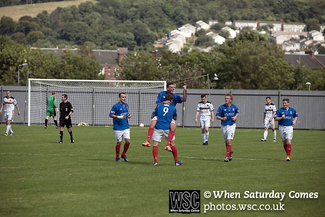 Dumbarton 0 Cowdenbeath 3, 18/08/2012. BetButler Stadium, Scottish League First Division. Away striker Lewis Coult celebrating scoring his team's second goal at the BetButler Stadium as Dumbarton play Cowdenbeath in an Irn-Bru Scottish League First Division match. An original member of the league, Dumbarton, formed in 1872, moved from Boghead to their current home in 2001 and this was their first home game at the second tier of Scottish football since 1996. Cowdenbeath won the match by 3-0 watched by an attendance of 695. Photo by Colin McPherson.