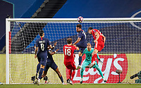 23rd August 2020, Estádio da Luz, Lison, Portugal; UEFA Champions League final, Paris St Germain versus Bayern Munich; Juan Bernat (PSG) clears away from Robert Lewandowski (Munich) watched by Keylor Navas (PSG)