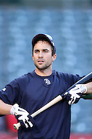 Tampa Bay Rays outfielder Sam Fuld #5 before a game against the Los Angeles Angels at Angel Stadium on June 18, 2011 in Anaheim,California. (Larry Goren/Four Seam Images)