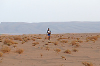 6th October 2021; Etape Mystere ;  Marathon des Sables, stage 4 of  a six-day, 251 km ultramarathon, which is approximately the distance of six regular marathons. The longest single stage is 82 km long. This multiday race is held every year in southern Morocco, in the Sahara Desert. Rachid El Morabity a solitary figure at the front of the race