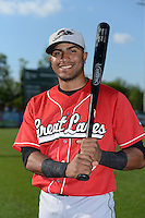 Great Lakes Loons second baseman Jesmuel Valentin (6) poses for a photo before a game against the West Michigan Whitecaps on June 4, 2014 at Fifth Third Ballpark in Comstock Park, Michigan.  West Michigan defeated Great Lakes 4-1.  (Mike Janes/Four Seam Images)