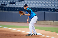 Tampa Tarpons first baseman Mandy Alvarez (3) holds a runner on during the first game of a doubleheader against the Lakeland Flying Tigers on May 31, 2018 at George M. Steinbrenner Field in Tampa, Florida.  Tampa defeated Lakeland 3-0.  (Mike Janes/Four Seam Images)