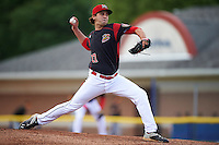 Batavia Muckdogs starting pitcher Ryan McKay (27) during a game against the West Virginia Black Bears on June 28, 2016 at Dwyer Stadium in Batavia, New York.  Batavia defeated West Virginia 3-1.  (Mike Janes/Four Seam Images)