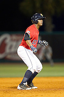 Jackson Valera (27) of the Charleston RiverDogs takes his lead off of second base against the Greenville Drive at Joseph P. Riley, Jr. Park on May 26, 2014 in Charleston, South Carolina.  The Drive defeated the RiverDogs 11-3.  (Brian Westerholt/Four Seam Images)