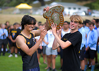 Wellington College celebrates winning the 2020 McEvedy Shield athletics tournament at Newtown Park in Wellington, New Zealand on Tuesday, 3 March 2020. Photo: Dave Lintott / lintottphoto.co.nz