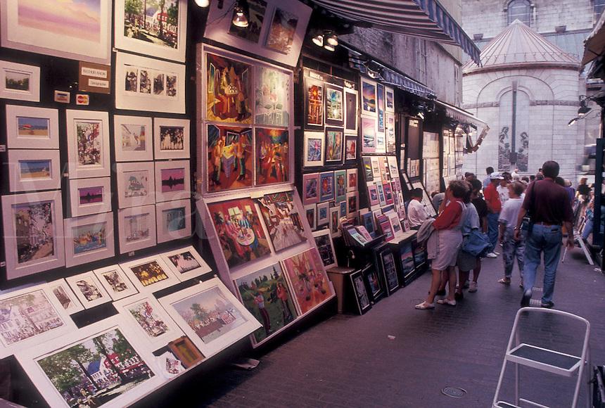 street artist, Quebec City, Canada, Quebec, Artwork displayed on Rue Du Tresor in Old Quebec City in Quebec.
