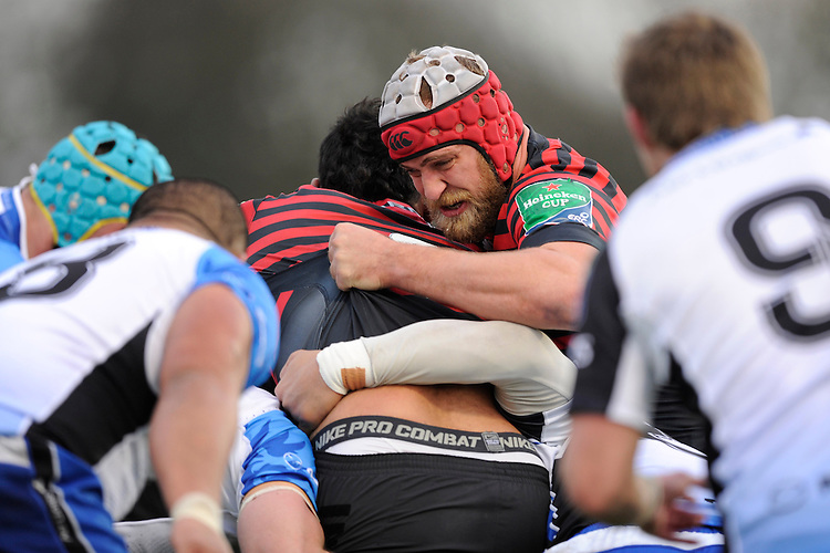 Alistair Hargreaves of Saracens battles in the maul as  during the Heineken Cup Round 6 match between Saracens and Connacht Rugby at Allianz Park on Saturday 18th January 2014 (Photo by Rob Munro)