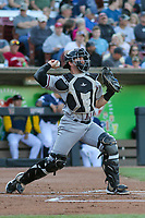 Quad Cities River Bandits catcher Logan Porter (9) throws down to second base between innings during a game against the Wisconsin Timber Rattlers on July 8, 2021 at Neuroscience Group Field at Fox Cities Stadium in Grand Chute, Wisconsin.  (Brad Krause/Four Seam Images)